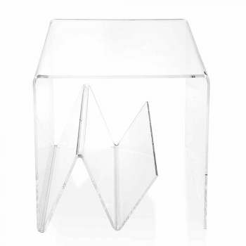 Tavolino / porta riviste design moderno, in plexiglass Cavour