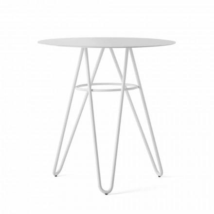 Tavolino Pregiato da Esterno in HPL e Metallo Bianco Made in Italy - Dublino