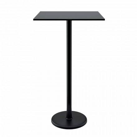 Tavolino Quadrato Alto in Metallo Ghisa e HPL da Esterno Made in Italy - Clint