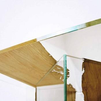 Tavolino quadrato in legno di briccola di Venezia e vetro Laguna
