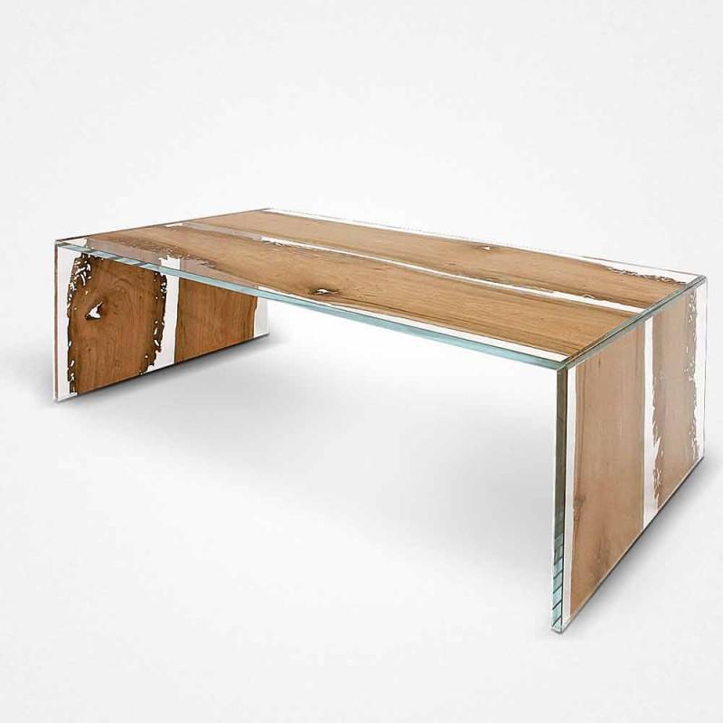 Tavolino rettangolare in vetro e legno di briccola di Venezia Giudecca