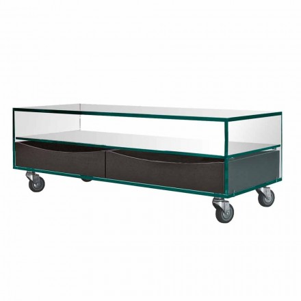 Tavolino Rettangolare in Vetro Extrachiaro con Cassetti Made in Italy – Ganzo