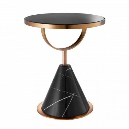 Tavolino Rotondo da Caffè in Acciaio Finitura Rame e Pietra Moderno - Aprilia