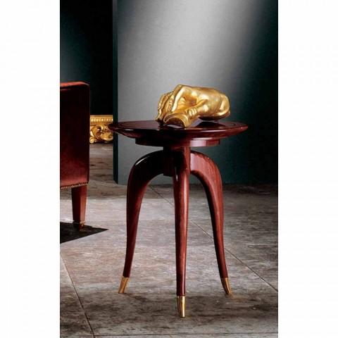 Tavolino rotondo da salotto design in legno, diametro 40 cm, Clay
