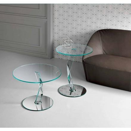 Tavolino Rotondo da Salotto di Design in Vetro Extrachiaro Made in Italy – Akka