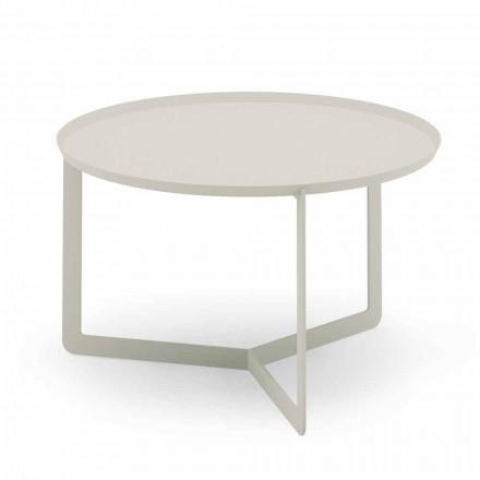 Tavolino Rotondo da Salotto Esterno in Metallo Canapa o Fango - Stephane