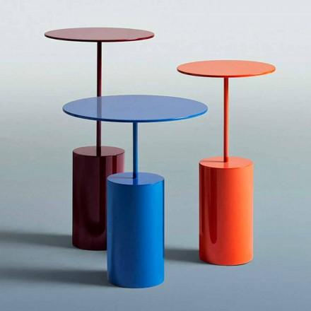 Tavolino Colorato Rotondo da Salotto in Lamiera di Design Moderno - Cocktail