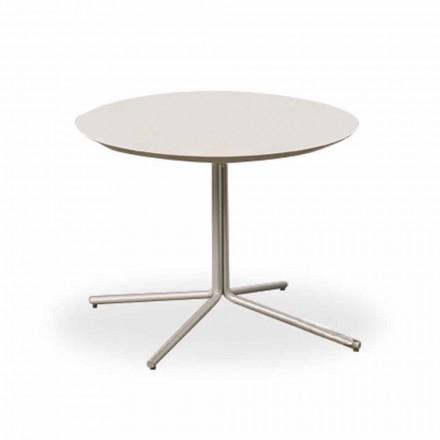 Tavolino Rotondo da Salotto in MDF Bianco di Design Moderno 2 Misure - Geone