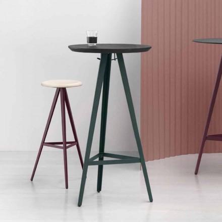 Tavolino Rotondo in Frassino Massello con Base in Metallo Made in Italy - Ulma