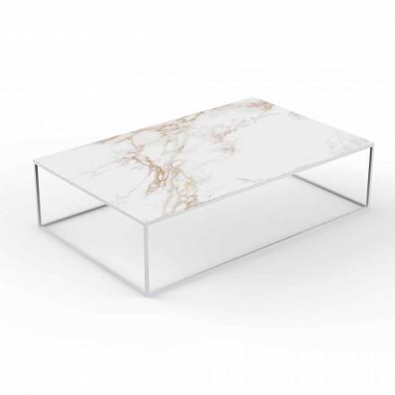 Tavolino da Esterno Moderno in Alluminio e Piano Effetto Marmo - Suave by Vondom