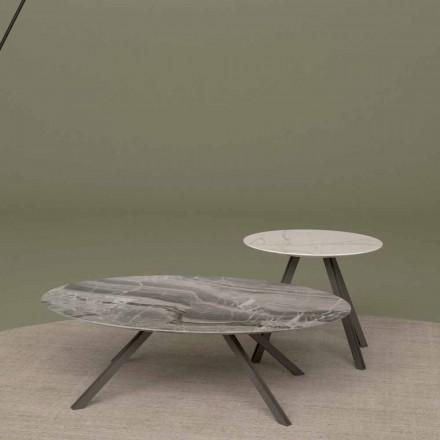 Tavolino Salotto in Marmo Orobico o Calacatta e Metallo Made in Italy – Sirena