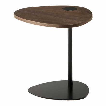 Tavolino Soggiorno in Metallo e Piano in Legno, Design di Lusso - Yassine