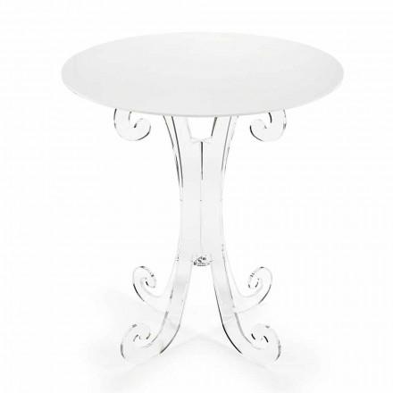 Tavolino Tondo da Caffè in Plexiglass Trasparente e Bianco o con Legno - Stilio