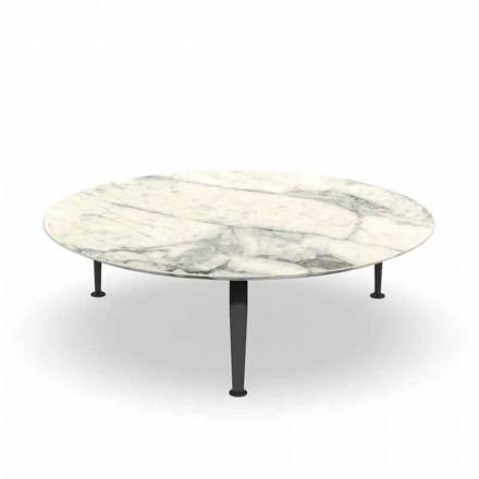 Tavolino Tondo da Giardino in Gres Calacatta e Alluminio – Cruise by Alu Talenti