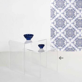 Tavolino trasparente design moderno 40x40cm Terry Small, made in Italy