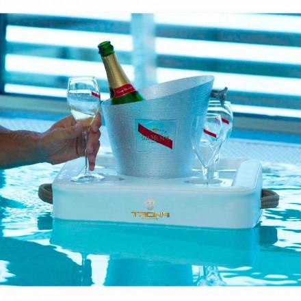 Tavolino – vassoio galleggiante di design in ecopelle nautica Trona