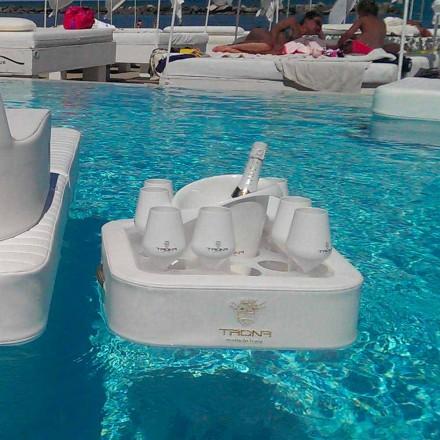Tavolino – vassoio galleggiante in ecopelle nautica e plexiglass Trona