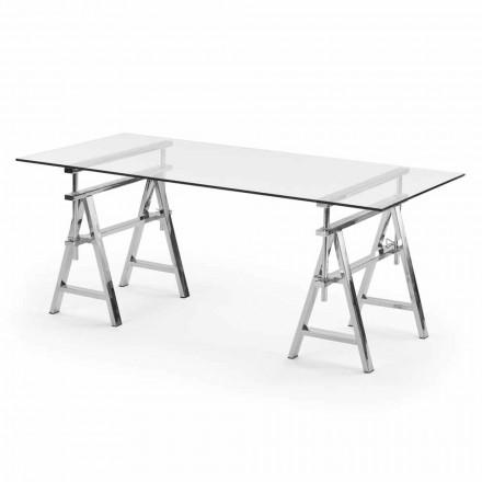 Tavolo acciaio/vetro altezza regolabile (L190xH72/74/78xP90cm) Cristal