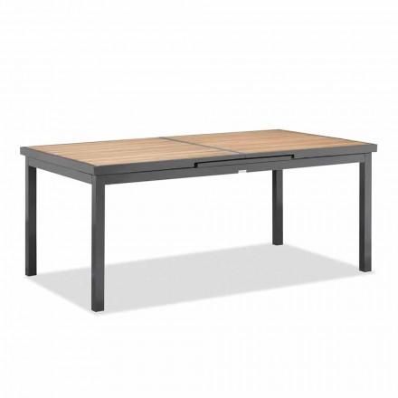Tavolo Allungabile a 240 cm da Esterno in Alluminio e Piano in Teak - Venera