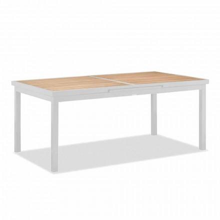 Tavolo Allungabile a 340 cm da Esterno in Alluminio e Piano in Teak - Bilel