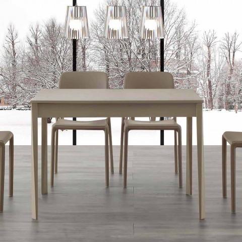 Tavolo moderno allungabile fino 160cm, base in legno massello, Empoli