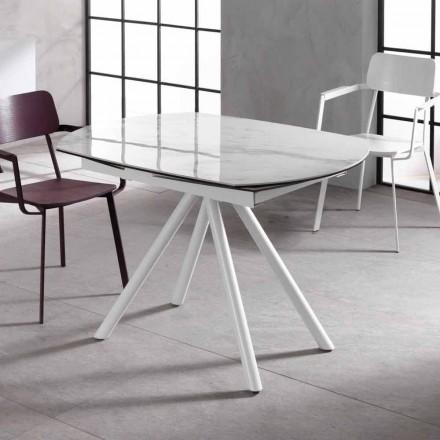 Tavolo allungabile con piano in ceramica e gambe in metallo, Lozzolo