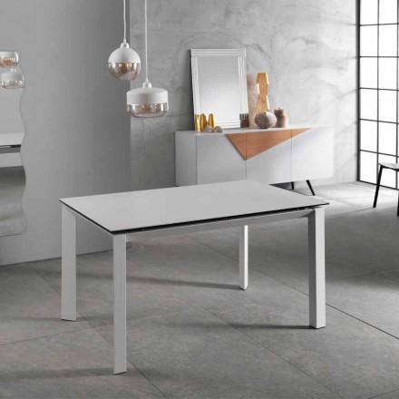 Tavolo allungabile fino 220 cm moderno,piano in ceramica bianco,Nosate