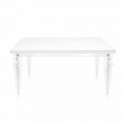 Tavolo Allungabile Fino a 255 cm in Plexiglass Trasparente e Legno Bianco - Fabo