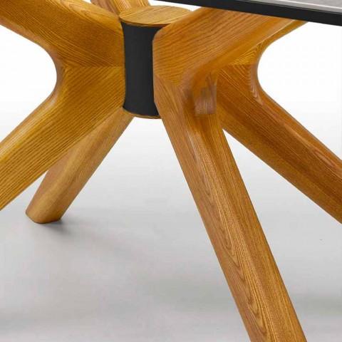 Tavolo Allungabile Fino a 260 cm in Gres Marmo e Legno Made in Italy - Malita