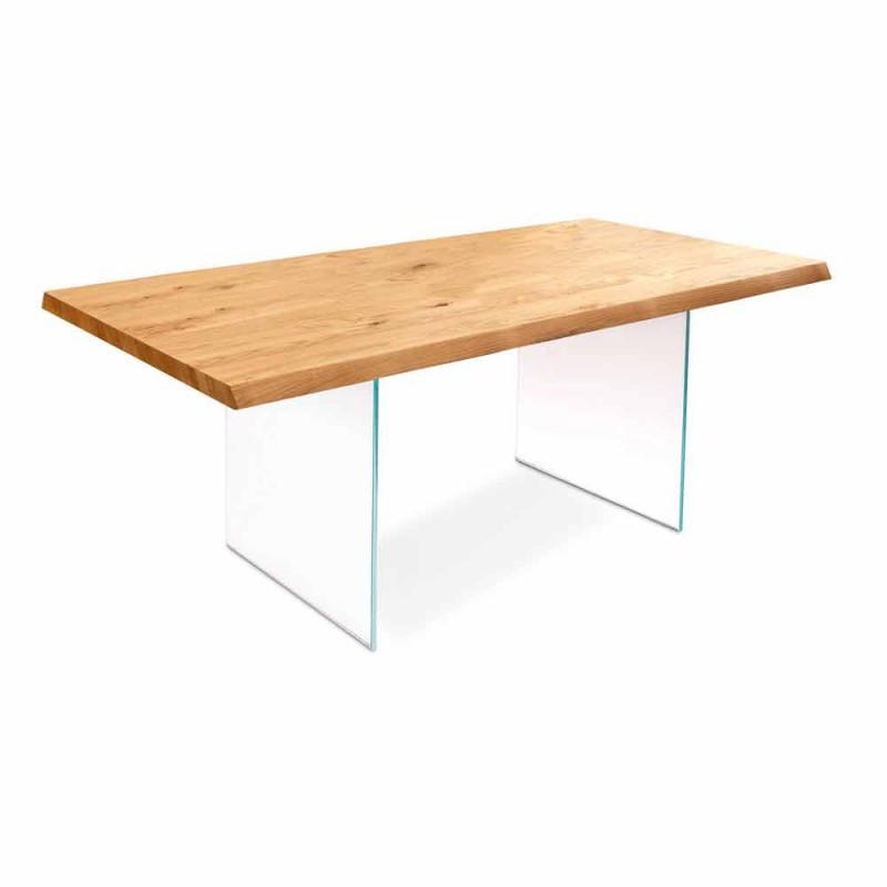 Tavolo allungabile in impiallacciato rovere con gambe in vetro Nico