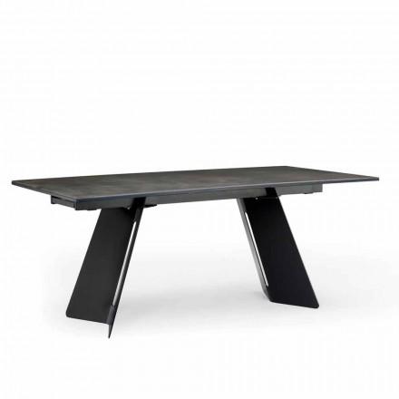 Tavolo allungabile moderno con piano in gres fatto in Italia, Erve