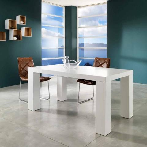 Tavolo allungabile moderno finitura laccato bianco opaco Demy