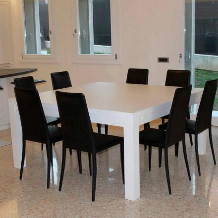 Tavolo allungabile moderno in legno rovere massellato,160x160cm, Jacob