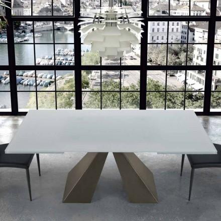 Tavolo Allungabile Moderno in Vetro e Acciaio 14 Posti Made in Italy – Dalmata