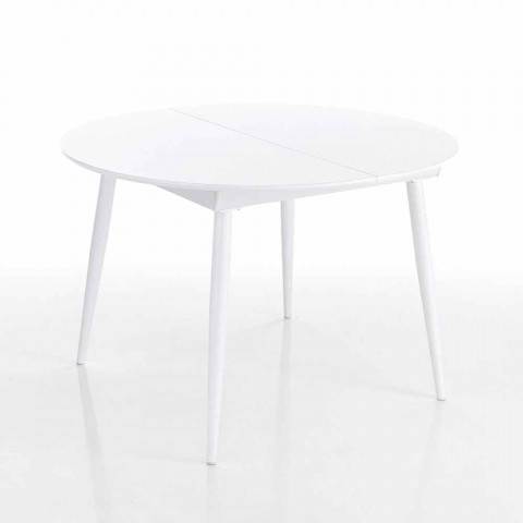 Tavolo Rotondo Allungabile Con Piano In Mdf Bianco Ismaele