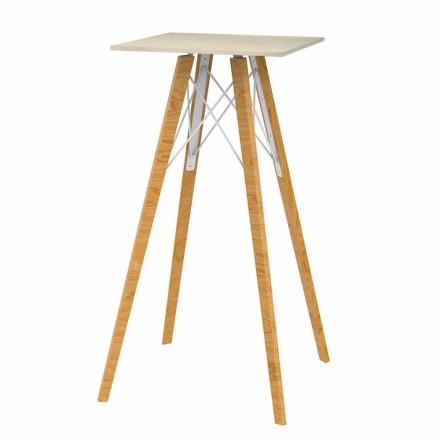 Tavolo Alto Bar Quadrato in Legno e Effetto Marmo 4 Pezzi - Faz Wood by Vondom