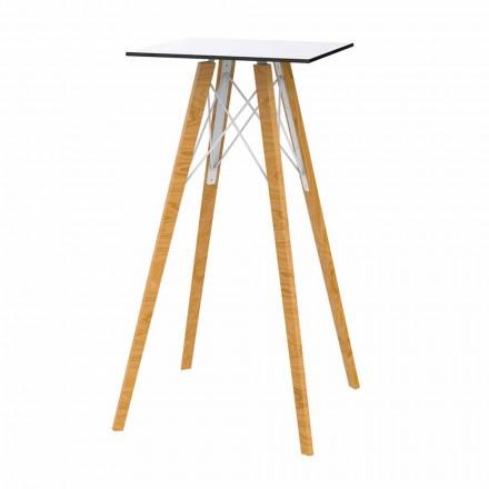 Tavolo Alto da Bar Design Quadrato in Legno e Hpl, 4 Pezzi - Faz Wood by Vondom