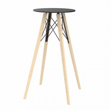 Tavolo Alto da Bar Rotondo Design in Legno e Hpl, 4 Pezzi - Faz Wood by Vondom