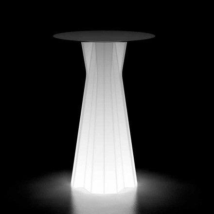 Tavolo Alto da Esterno con Base Luminosa e Piano in Hpl Made in Italy - Tinuccia