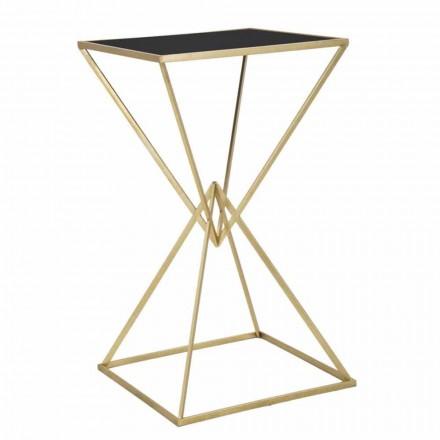 Tavolo Bar Quadrato di Design Moderno in Ferro e Vetro - Hily