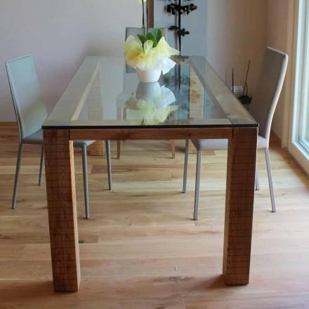 Tavolo con Piano in Cristallo e Legno di Frassino Modero Made in Italy – Asella