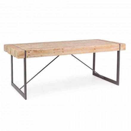 Tavolo con Piano in Legno di Abete Stile Industriale Homemotion - Wallie