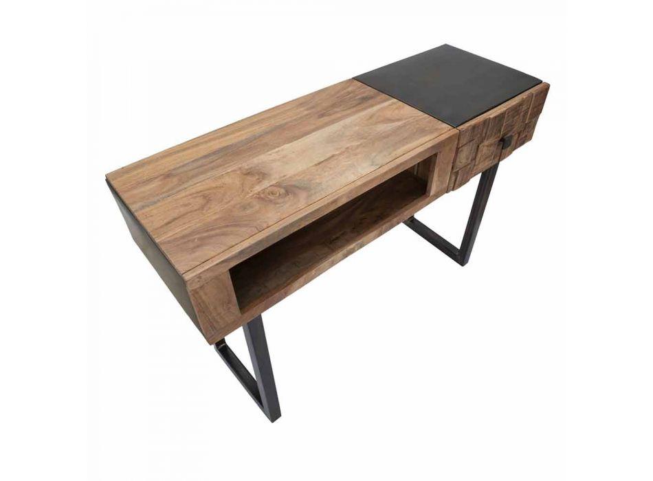 Tavolo Consolle in Ferro e Legno di Acacia con Cassetto di Design - Dena