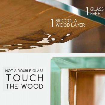 Tavolo consolle in legno di briccola di Venezia e vetro Fenice