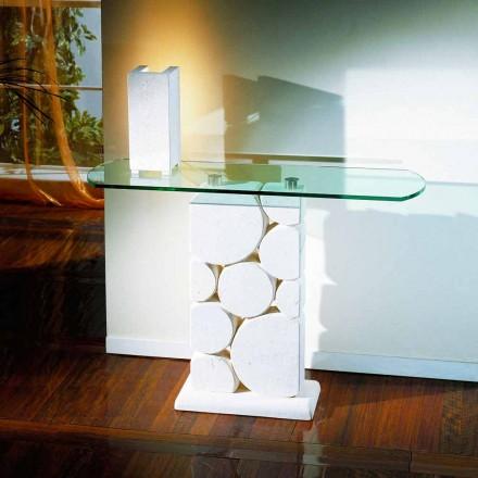 Tavolo consolle scolpita a mano Pietra di Vicenza e cristallo Hosios