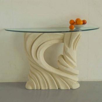 Tavolo consolle in pietra e cristallo di design Emera