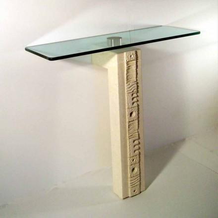 Tavolo consolle rettangolare in Pietra di Vicenza e cristallo Abidos