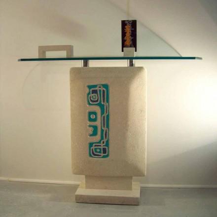 Tavolo consolle rettangolare Pietra di Vicenza scolpito a mano Soter