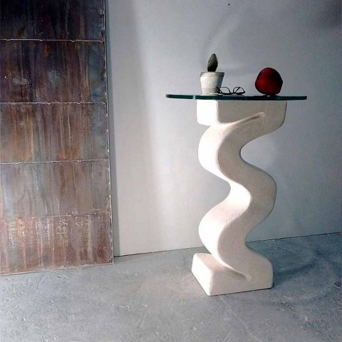 Tavolo consolle tondo in pietra e cristallo di design Babylas