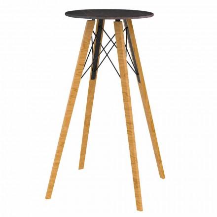 Tavolo da Bar Alto Rotondo in Legno e Effetto Marmo 4 Pezzi - Faz Wood by Vondom